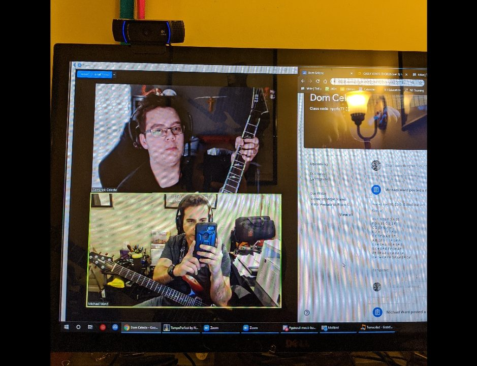 Mike Ward and Dominick Celeste during an online guitar lesson. Celeste takes his lessons from his bedroom at home via Zoom. (Photo: Mike Ward)