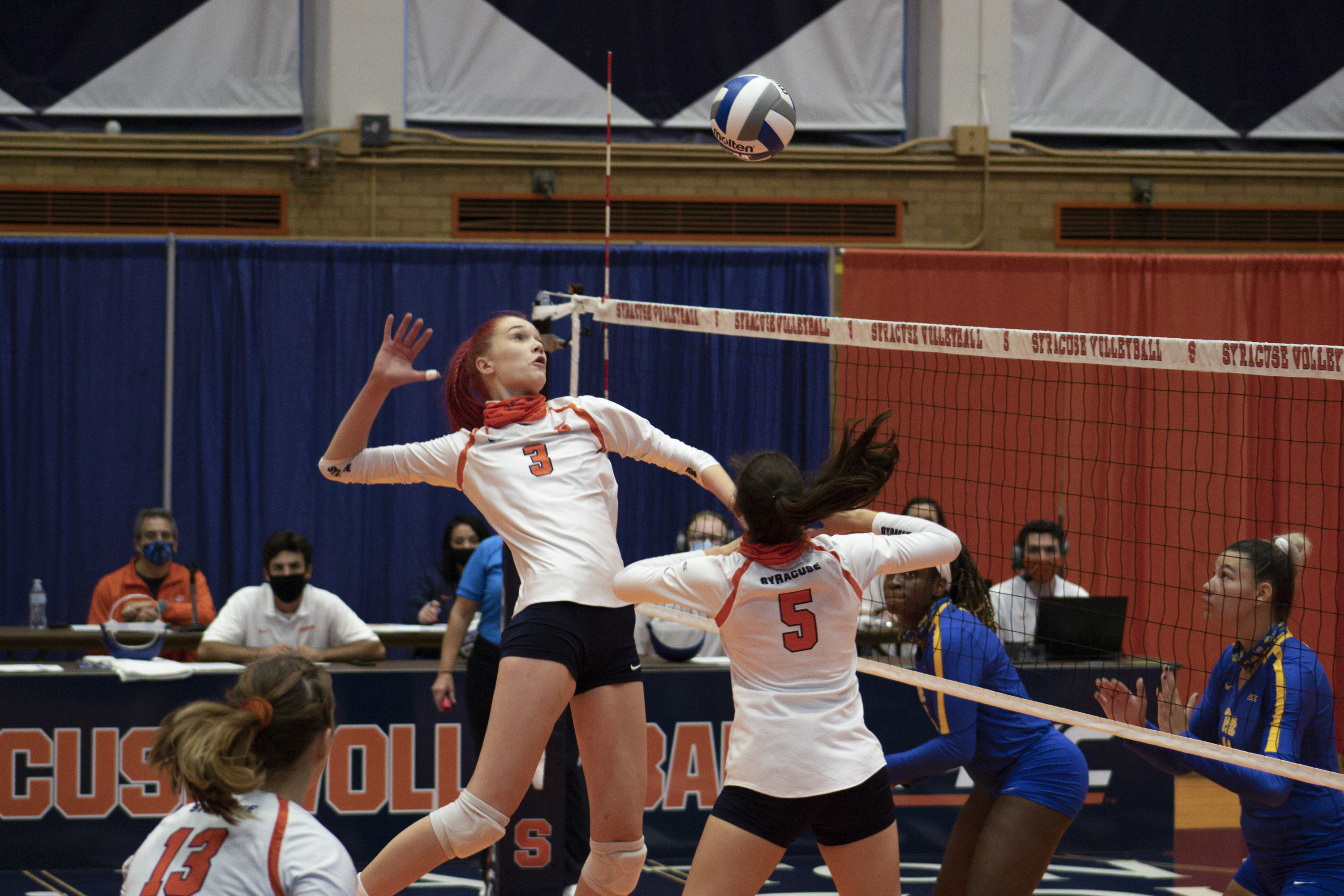 Syracuse Outside hitter Marina Markova jumps to spike the ball during the Sept. 25, 2020, home game against Pittsburgh.
