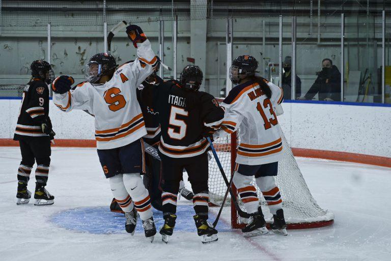Syracuse Women's Hockey Forward Emma Polaski celebrates after scoring a goal in the first period vs. RIT.