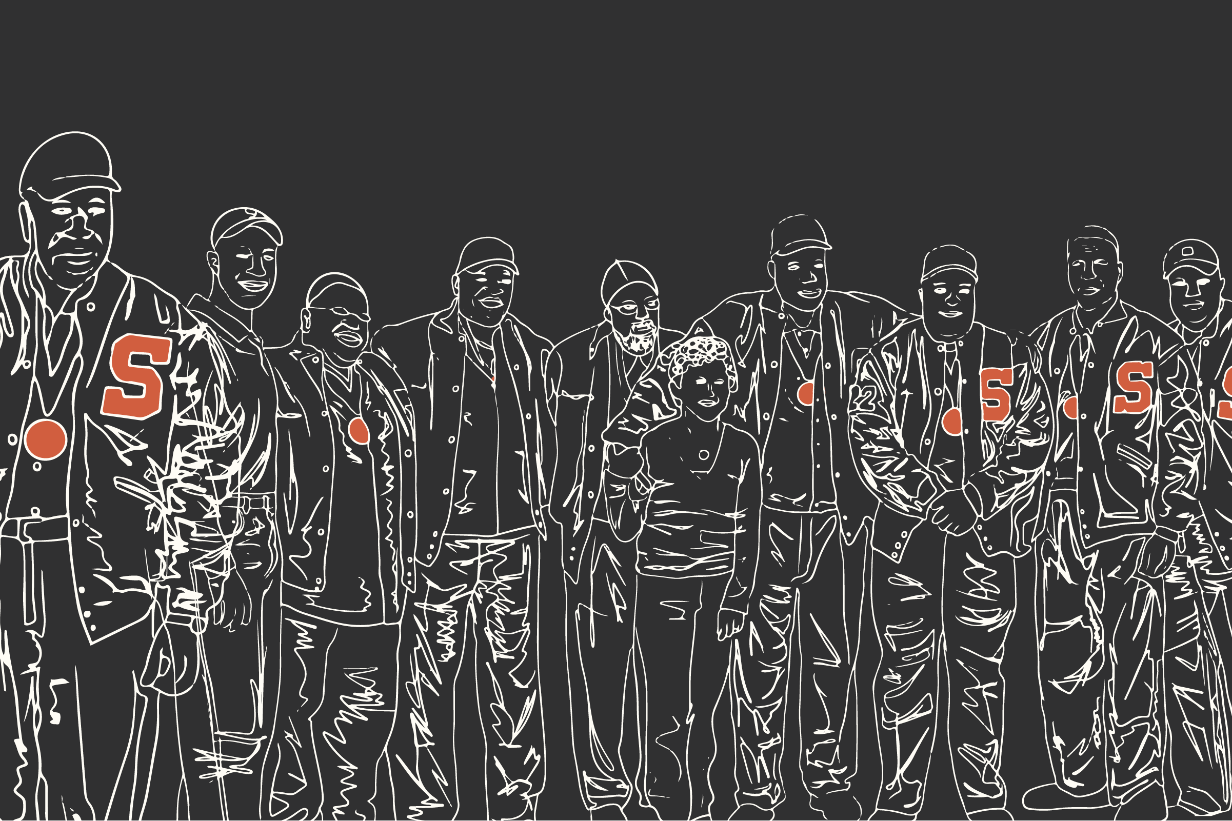 Illustration of Syracuse 8 football players
