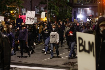 Protestors stopped traffic when they marched from MLK Jr Memorial Park to the Public Safety Building in downtown Rochester on Friday, September 11, 2020.