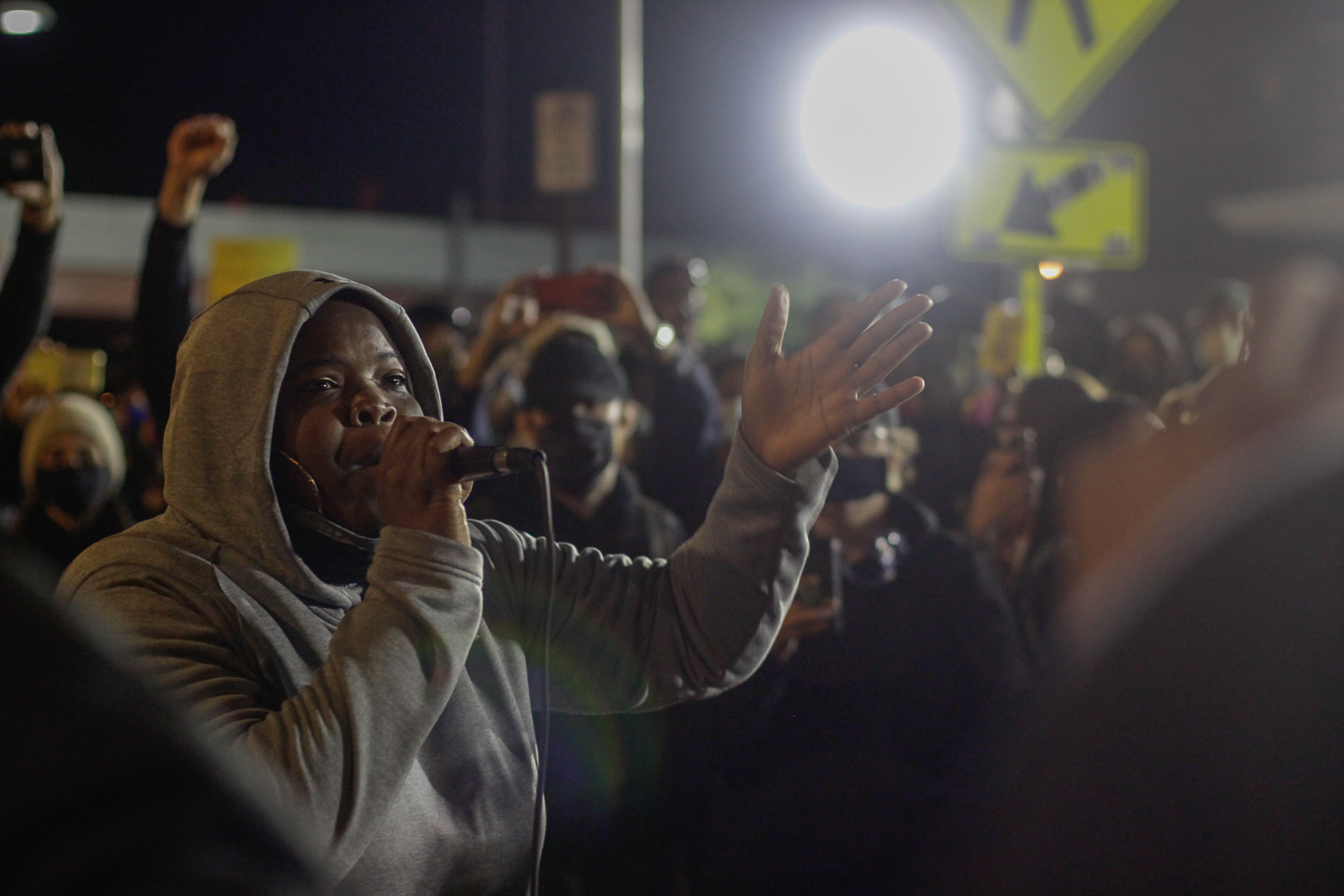 Danielle Ponder, a Rochester-born musician and former criminal defense lawyer, spoke to protestors on Friday, September 11, 2020.